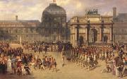 joseph-Louis-Hippolyte  Bellange A Review Day under the Empire in the Cour de Carrousel near the Tuileries Palace (mk05) oil painting picture wholesale