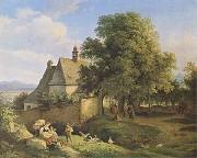 Adrian Ludwig Richter Church at Graupen in Bohemia (mk09) oil painting picture wholesale