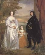 Anthony Van Dyck Portrait of the earl and countess of derby and their daughter (mk03) oil painting picture wholesale