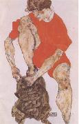 Egon Schiele Female Model in Bright Red Jacket and Pants (mk09) oil painting picture wholesale