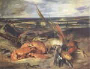 Eugene Delacroix Still Life with a Lobster and Trophies of Hunting and Fishing (mk05) oil painting artist