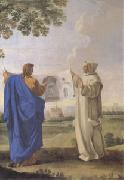 LE SUEUR, Eustache St Bruno Examining a Drawing of the Baths of Diocletian Location of the Future Charterhouse of Rome  (mk05) oil painting artist