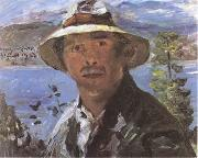 Lovis Corinth Self-Portrait with Straw Hat (mk09) oil painting picture wholesale