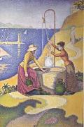 Paul Signac Women at the Well (Young Provencal Women at the Well) (mk06) oil painting picture wholesale
