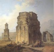 ROBERT, Hubert Triumphal Arch and Amphitheater at Orange (mk05) oil painting picture wholesale