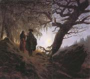 Caspar David Friedrich Man and Woman Contemplating the Moon (mk10) oil painting picture wholesale