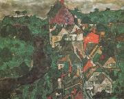 Egon Schiele Krumau Landscape (Town and River) (mk12) oil painting picture wholesale