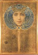 Louis Welden Hawkins Mask,Symbolist portrait in the form of a fan (mk19) oil painting artist