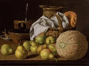 Melendez, Luis Eugenio Stell Life with Melon and Pears (mk08) oil painting picture wholesale