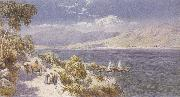 Charles rowbotham Lake como with Bellagio in the Distance (mk37) oil painting artist