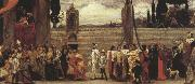 Frederic,lord leighton,p.r.a.,r.w.s A Colour Sketch for Cimabue's Celebrated Madonna is Carried in Procession throuth the Streests of Florence' (mk37) oil painting picture wholesale