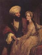 Henry William Pickersgill Portrait of James Silk Buckingham and his Wife in Arab Costume of Baghdad of 1816 (mk32) oil painting artist