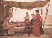 John William Waterhouse A Flower Stall (mk41) oil painting picture wholesale