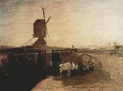 Joseph Mallord William Turner Grand Junction Canal at Southall Mill Windmill and Lock (mk31) oil painting artist