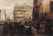 Adolph von Menzel A Paris Day oil painting artist