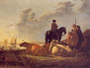 Aelbert Cuyp Cattle with Horseman and Peasants oil painting