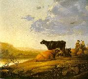 Aelbert Cuyp Young Herdsman with Cows by a River oil painting reproduction