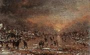 Aert van der Neer Sports on a Frozen River oil painting