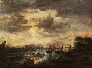 Aert van der Neer River Scene with Fishermen oil painting
