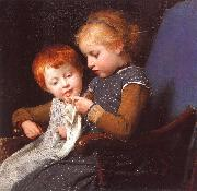 Albert Anker The Little Knitters oil painting reproduction