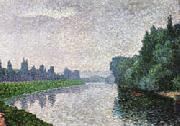 Albert Dubois-Pillet The Marne River at Dawn oil painting