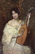 Alden J Weir Lady with a Mandolin oil painting