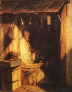 Alexandre Gabriel Decamps Turkish Merchant smoring in His shop oil painting