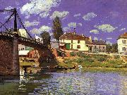 Alfred Sisley The Bridge at Villeneuve la Garenne oil painting