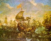 Andries van Eertvelt The Battle of the Spanish Fleet with Dutch Ships in May 1573 During the Siege of Haarlem oil painting