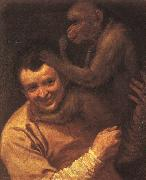 Annibale Carracci A Man with a Monkey oil painting