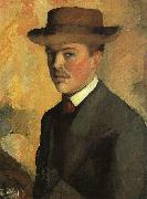 August Macke Self Portrait with Hat  qq oil painting