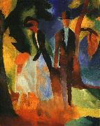August Macke People by a Blue Lake oil painting reproduction
