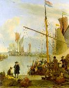BACKHUYSEN, Ludolf View from the Mussel Pier in Amsterdam hh oil painting