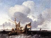 BACKHUYSEN, Ludolf Ships on the Zuiderzee before the Fort of Naarden fgg oil painting