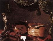 BASCHENIS, Evaristo Still-Life with Musical Instruments and a Small Classical Statue  www oil painting
