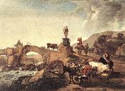 BERCHEM, Nicolaes Italian Landscape with Bridge  ddd oil painting
