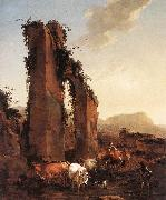 BERCHEM, Nicolaes Peasants with Cattle by a Ruined Aqueduct oil painting