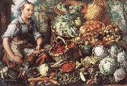 BEUCKELAER, Joachim Market Woman with Fruit, Vegetables and Poultry  intre oil painting