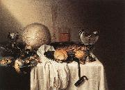 BOELEMA DE STOMME, Maerten Still-Life with a Bearded Man Crock and a Nautilus Shell Cup oil painting