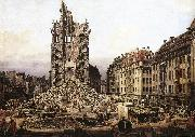Bernardo Bellotto The Ruins of the Old Kreuzkirche in Dresden oil painting