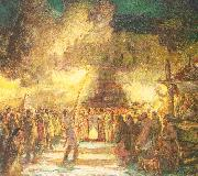 Berninghaus, Oscar Edmund Firelight Procession at the Pueblo on Christmas Eve oil painting