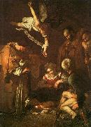 Caravaggio The Nativity with Saints Francis and Lawrence oil painting
