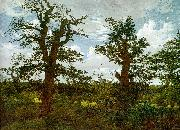 Caspar David Friedrich Landscape with Oak Trees and a Hunter oil painting reproduction
