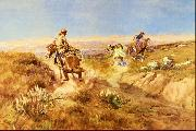 Charles M Russell When Cows Were Wild oil painting
