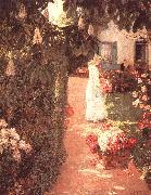 Childe Hassam Gathering Flowers in a French Garden oil painting