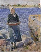 Christian Krohg Solskinn oil painting