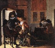 DUYSTER, Willem Cornelisz. Soldiers beside a Fireplace sg oil painting
