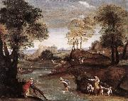Domenichino Landscape with Ford dg oil painting