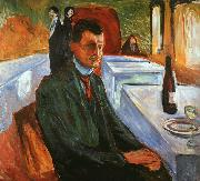 Edvard Munch Self Portrait with a Wine Bottle oil painting