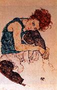 Egon Schiele Seated Woman with Bent Knee oil painting